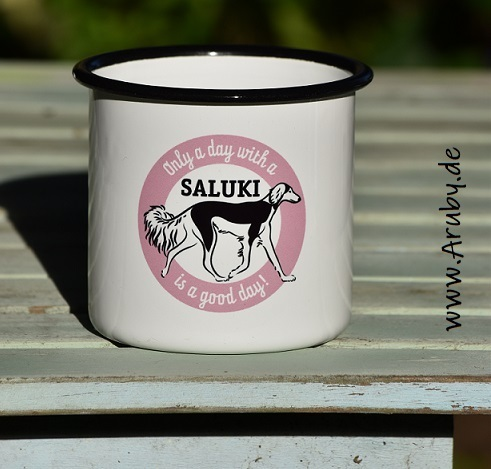 "Emailletasse mit Print ""Only a day..Saluki"""